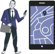 vector illustration of a man looking at his phone